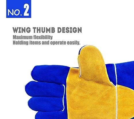 QeeLink - Guantes de soldadura resistentes al calor y al desgaste, forrados de piel y costuras ignífugas, para soldadores Tig/Mig, chimeneas, barbacoas, ...