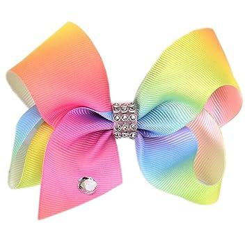 Amazon.com: patiky bebé niñas Clips arco iris cinta lazos de ...