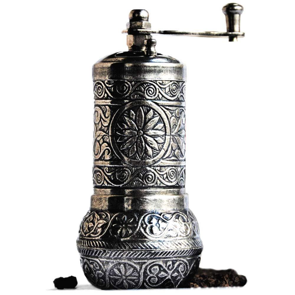 """Bazaar Anatolia Pepper Mill, Spice Grinder, Pepper Grinder, Turkish Grinder (Dark Silver, 4.2"""")"""