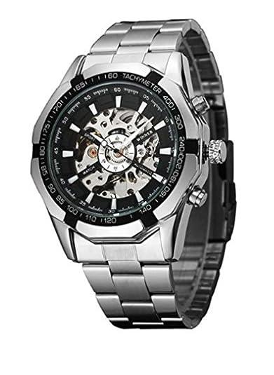 Timelyo - Reloj automático de deporte para hombre, diseño réplica de lujo, acero, color negro: Amazon.es: Joyería