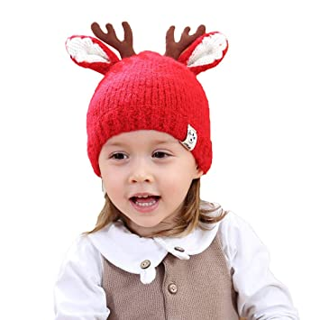 2472e77830039 Amazon.com   Clearance Baby Winter Knitted Hats - Iuhan Children Baby Boys  Girls Elk Ears Warm Winter Beanie Knit Hat Cap (Red)   Beauty
