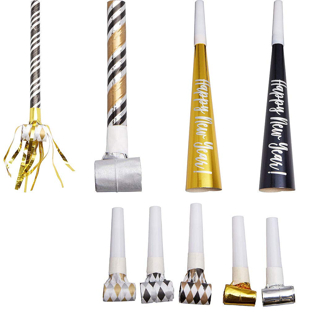 Black, Gold & Silver New Year's Eve Party Horns & Blowouts 50pc Cardstock & Plastic Noisemakers| Holiday Parties New Year's Noise Makers by HollyDel
