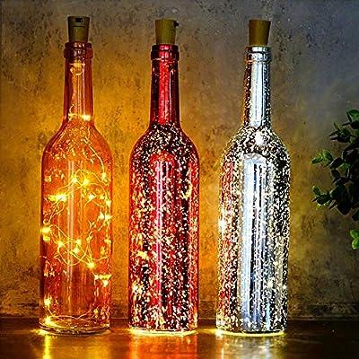 Luces led 2pcs 2M 20 LEDS de alambre de cobre Botella cadena luces ...