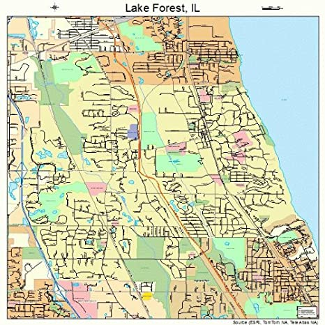 Amazon.com: Large Street & Road Map of Lake Forest, Illinois IL ...