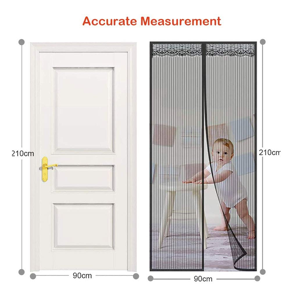 Mute Magnetic Closure for Exterior Doors Soft Mesh Protection Curtain Size Can Be Customized Let Fresh Air in Net No Drilling,Hands Free Magnetic Screen Door