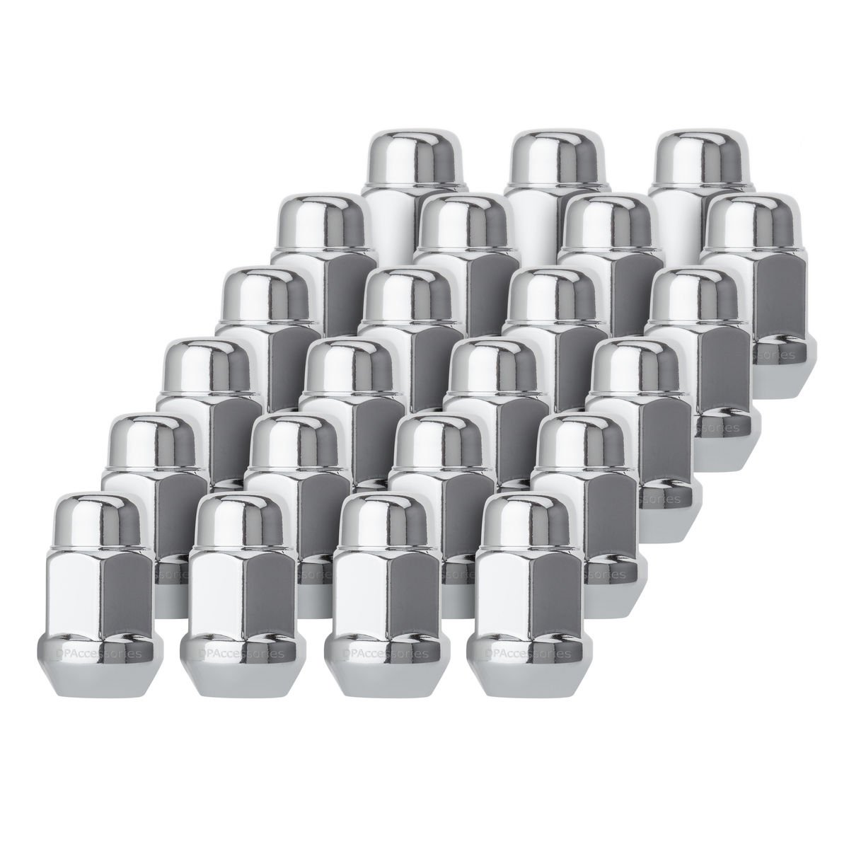 "DPAccessories D3112-HT-2305/20 20 Chrome 1/2-20 Closed End Bulge Acorn Lug Nuts - Cone Seat - 3/4"" Hex Wheel Lug Nut"
