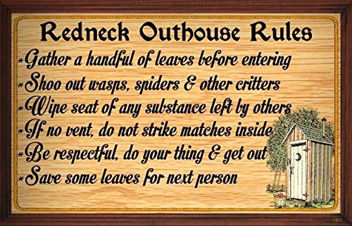 (Redneck Outhouse Rules) WALL DECOR RUSTIC PRIMITIVE HARD WOOD SIGN PLAQUE by Your Lucky Decor