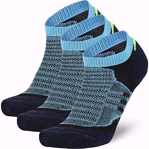 Low Cut Wool Running Socks - Cushioned Merino Wool Athletic Socks for Men and Women, Moisture Wicking (3 Pairs - Navy Blue/Azure, Medium)