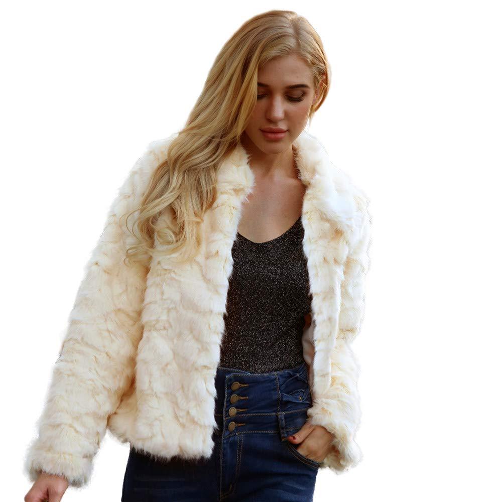 Womens Coat Hot Sale,DEATU Ladies Teen Girls Warm Artificial Wool Coat Jacket Winter Parka Pretty Outerwear(Beige,XL)