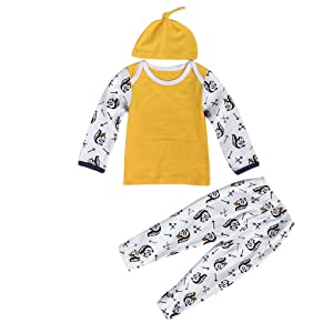 Hatop Newborn Baby Boy Girl Long Sleeve Tops +Long Pants Hat Outfits Set Clothes