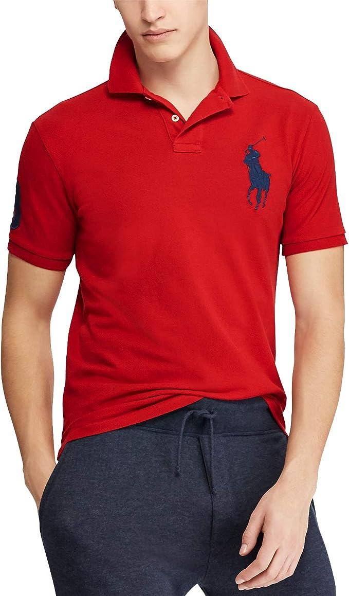 Polo Ralph Lauren para hombre Big Pony Custom Slim Fit Mesh Polo Camisa - Rojo - Medium: Amazon.es: Ropa y accesorios