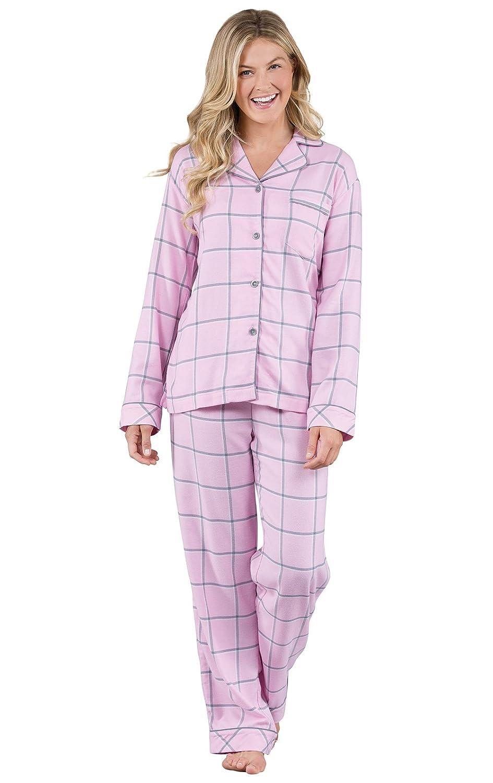 PajamaGram Women's World's Softest Flannel Plaid Boyfriend Pajamas, Pink The Pajamagram Company GKPJ06007-GKPW06007
