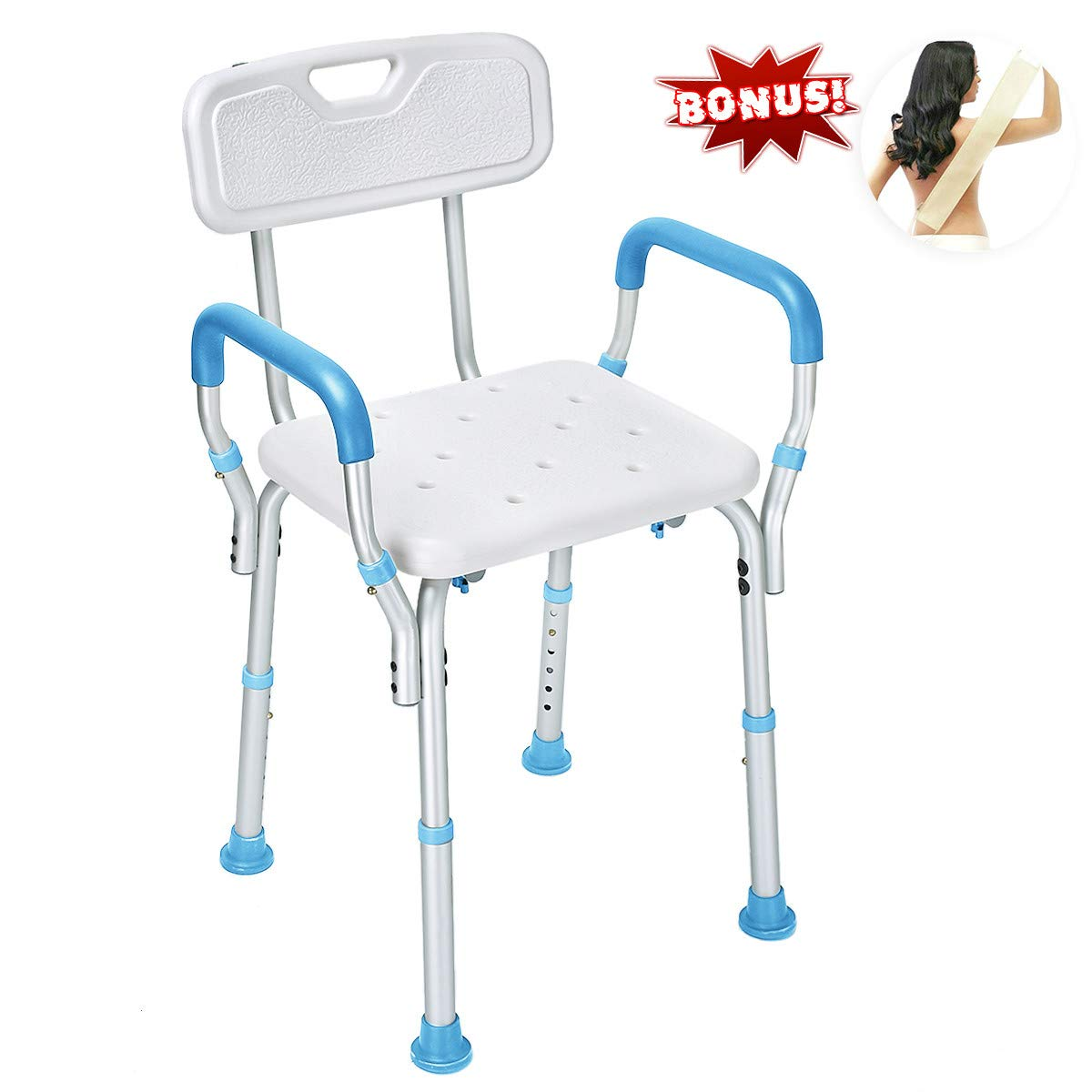Latest Version ! Health Line Tool-Free Assembly Shower Chair Bath Bench Stool Adjustable Height with Removable Back and Arms & Non-Slip Feet - w/Bonus Loofah Back Scrubber