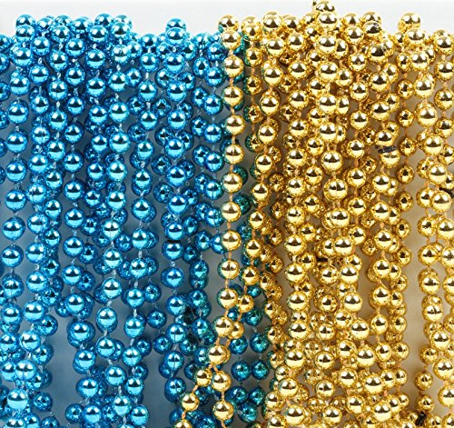 Andaz Press Mardi Gras Plastic Bead Necklaces Duo for Boy Baby Shower Baptism Party Favors and Table Centerpiece Decorations, Baby Blue and Gold, 24-Pack ()