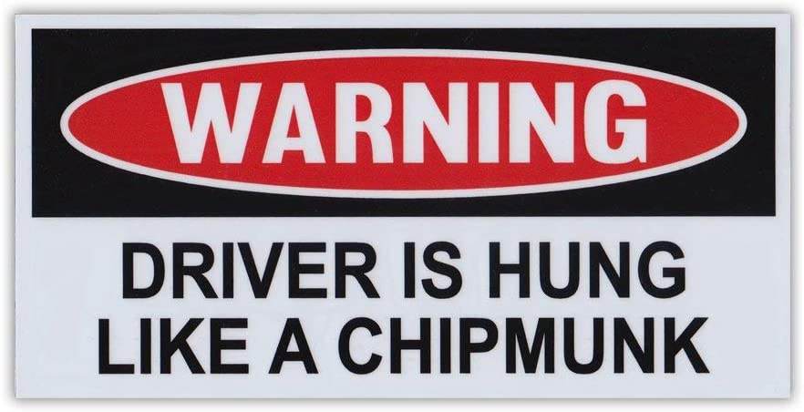 "Crazy Novelty Guy Magnet, Funny Warning Magnet, Driver is Hung Like A Chipmunk, Practical Jokes, Gags, Pranks, 6"" x 3"""