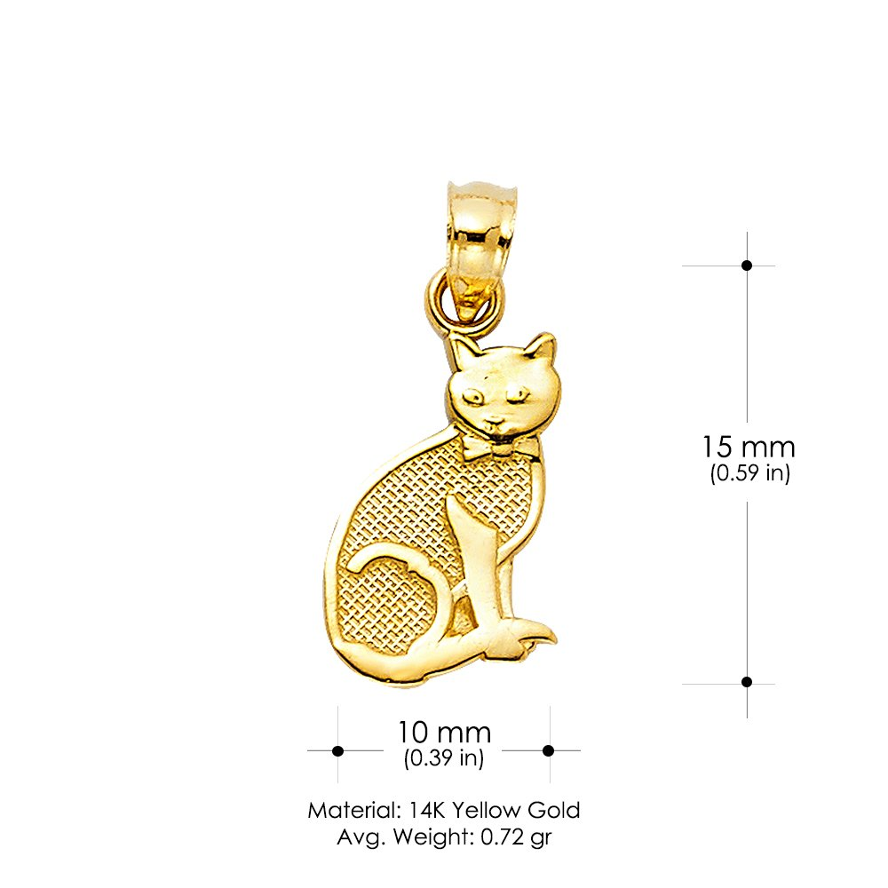 14K Yellow Gold Cat Charm Pendant with 1.7mm Flat Open Wheat Chain Necklace