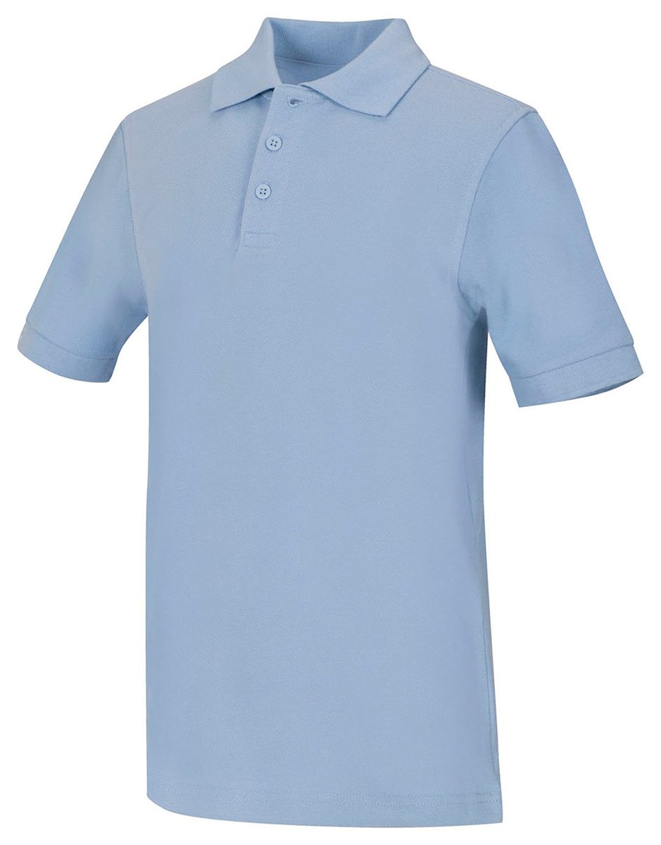 Classroom Unisex Short Sleeve Pique knit Polo, Light Blue, Large