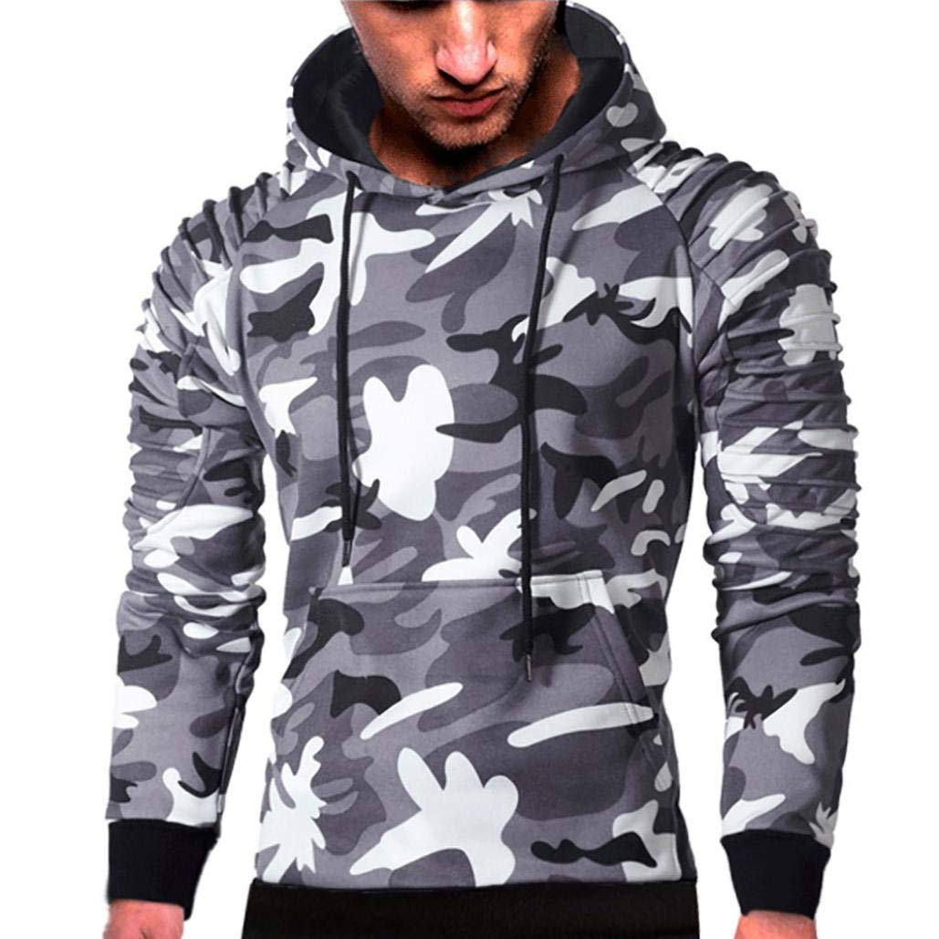 Mens' Long Sleeve Hoodie Sweatshirt Pullover Camouflage Hoodie Sweatshirt Tops Autumn Jacket Outwear (Gray, L)