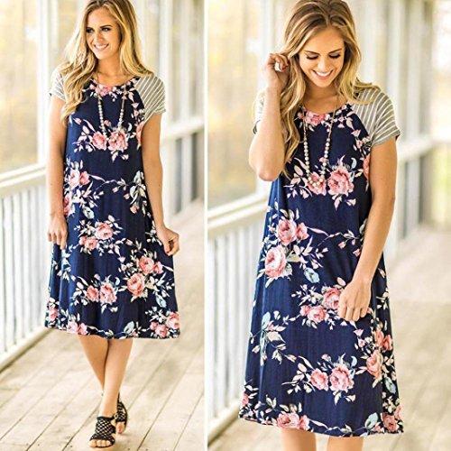 Mode A Dress Loose Robe cou D't Imprimer Yanhoo Floral Femmes Manches Line Bleu Femmes Courtes Jupe Party ligne O Dames D't A Filles Jupes Robes Imprimer Fp1n76Zx