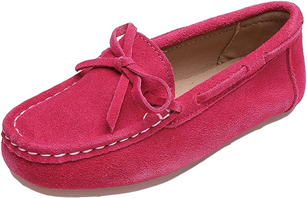 iDuoDuo Girls Cute Bow Soft Soled Casual Loafer Shoes School Moccasin Suede Flats Toddler//Little Kid