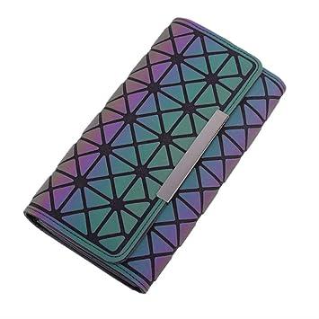 Las mujeres de la nueva cartera de tres veces geométrico diamante teléfono móvil bolsa de color deslumbrante luz de la noche grande clip de la tarjeta de la bolsa de venta caliente: