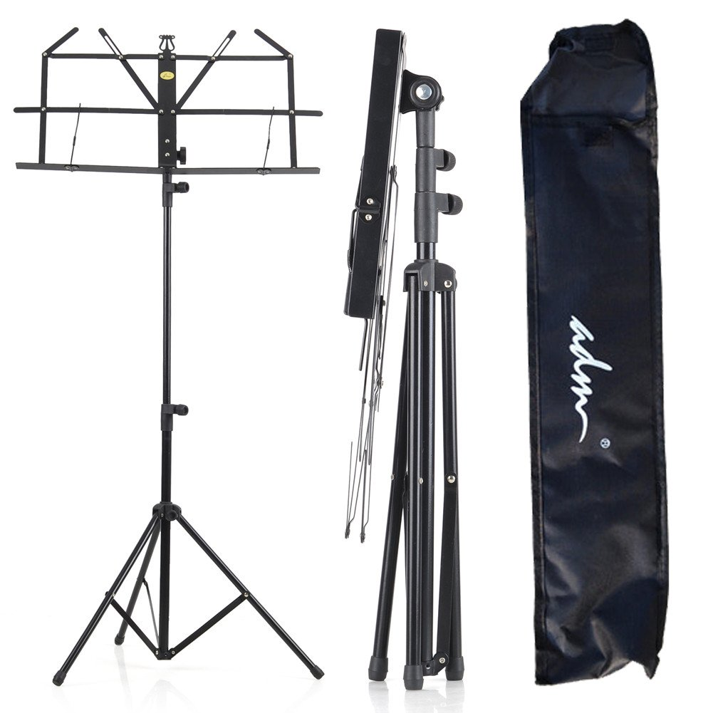ADM Folding Adjustable Music Stand with Carrying Bag, Portable Metal Holder for Sheet Music, Black