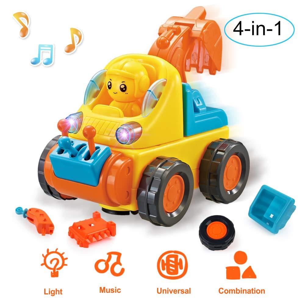 BeebeeRun Voiture Jouet 3 Ans Enfants Gar/çon Fille Vehicule Construction Jeu 4 en 1 Camion Voiture avec lumi/ère et Musique Dassemblage Jouet Cadeau danniversaire
