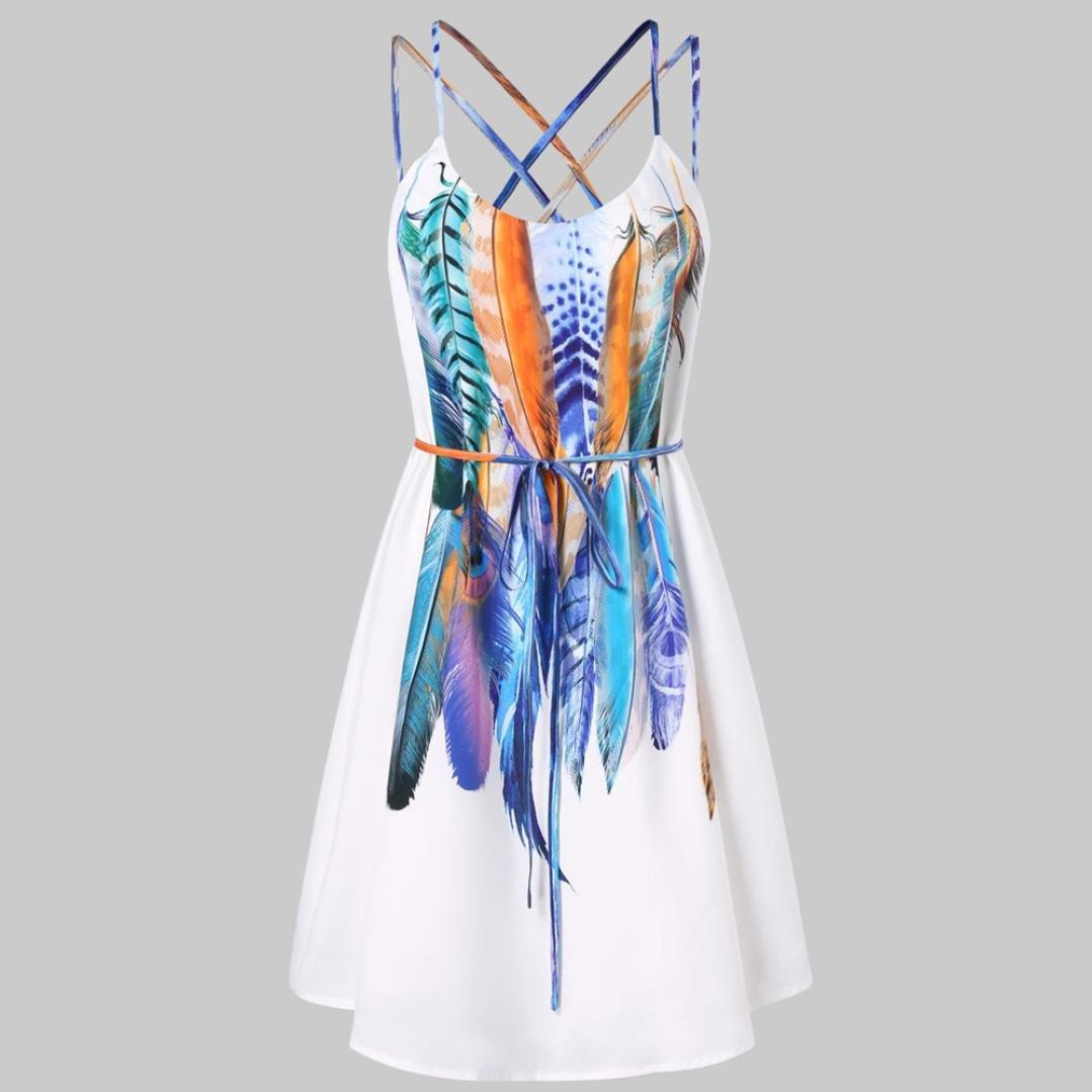 JYC Verano Falda Larga, Vestido De La Camiseta Encaje, Vestido Elegante Casual, Vestido Fiesta Mujer Largo Boda, Mujer Casual Impreso Plumas Patrón Cami ...