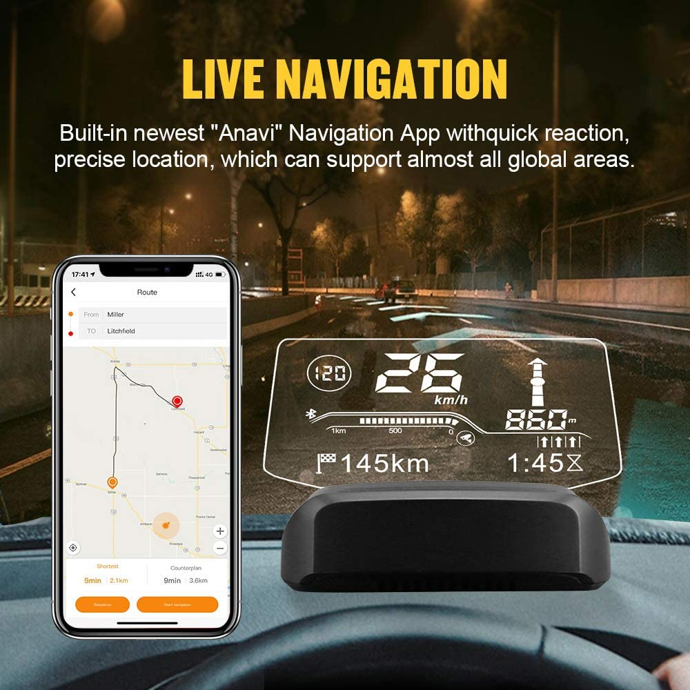 HUD OBD2-Diagnosetools f/ür angehaltene virtuelle Anzeigen AUTOOL X500 Auto-Overhead-Videoanzeige Kilometerstand des OBD GPS-Dual-System-Tachometers f/ür 12-V-OBDII-Fahrzeuge