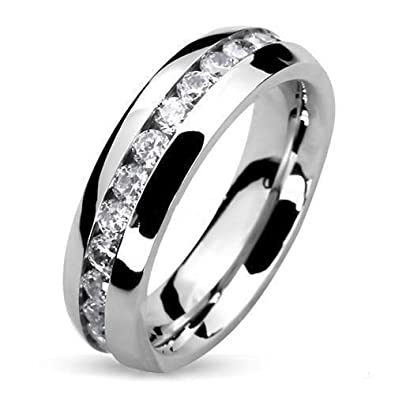 Amazon.com  Round Cut CZ Stainless Steel Eternity Wedding Ring Band (4-8mm  Wide) Width 4mm Size 04 5  Jewelry e6bbf0b57