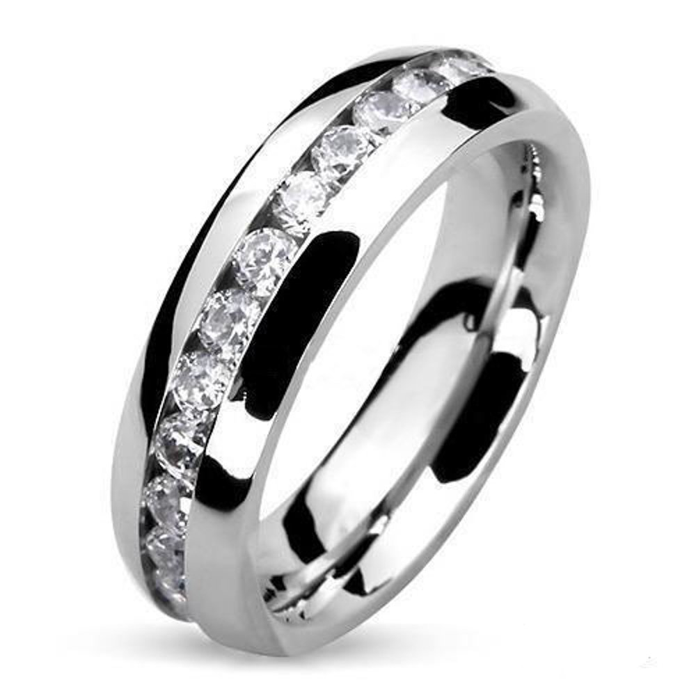 Round Cut CZ Stainless Steel Eternity Wedding Ring Band (4-8mm Wide) Width 6mm Size 06
