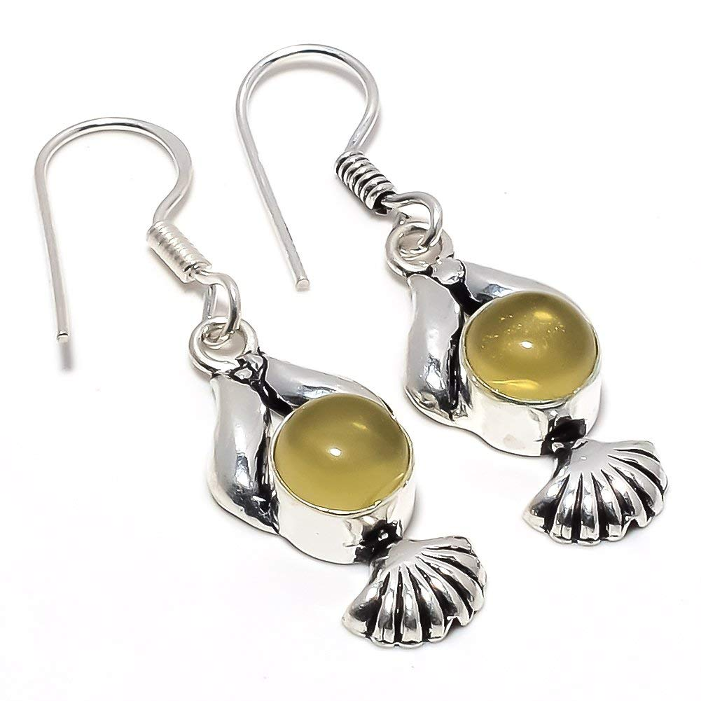 Pretty Yellow Citrine Quartz Silver Plated 5 Grams Earring 1.5 Long Handmade Jewellery