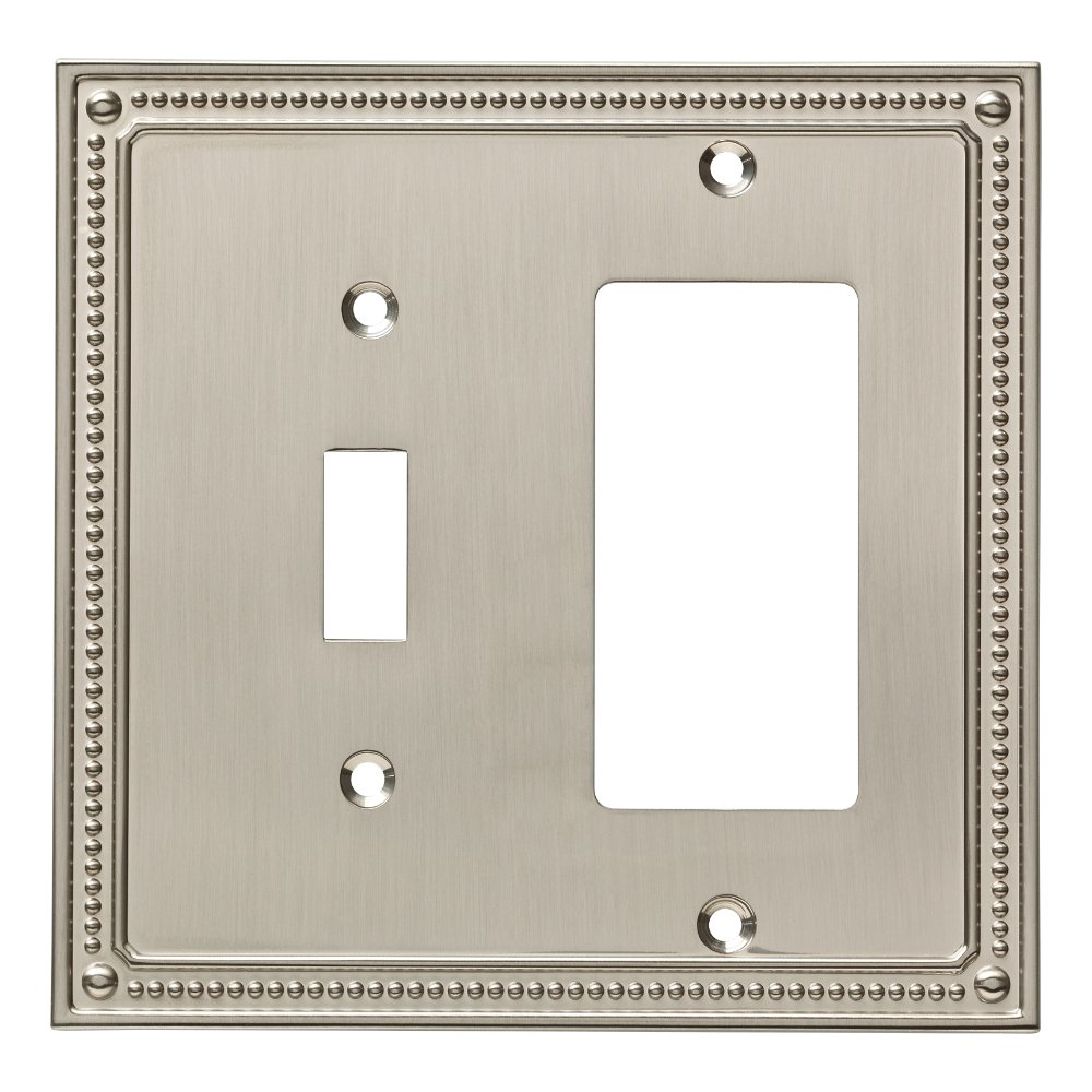 Franklin Brass W35063-SN-C Classic Beaded Switch/Decorator Wall Plate/Switch Plate/Cover, Satin Nickel