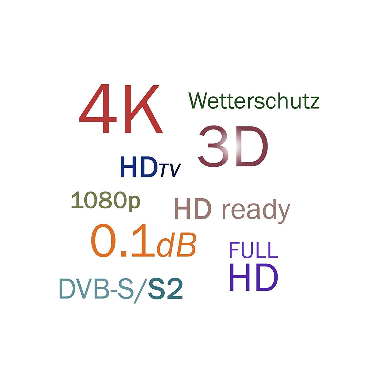 HB-DIGITAL Quad LNB LNC 4 Los participantes directos ✨ FULL HD TV 3D 4K Negro Black ■ contactos chapados en oro ■ Protecci/ón ambiental extensible