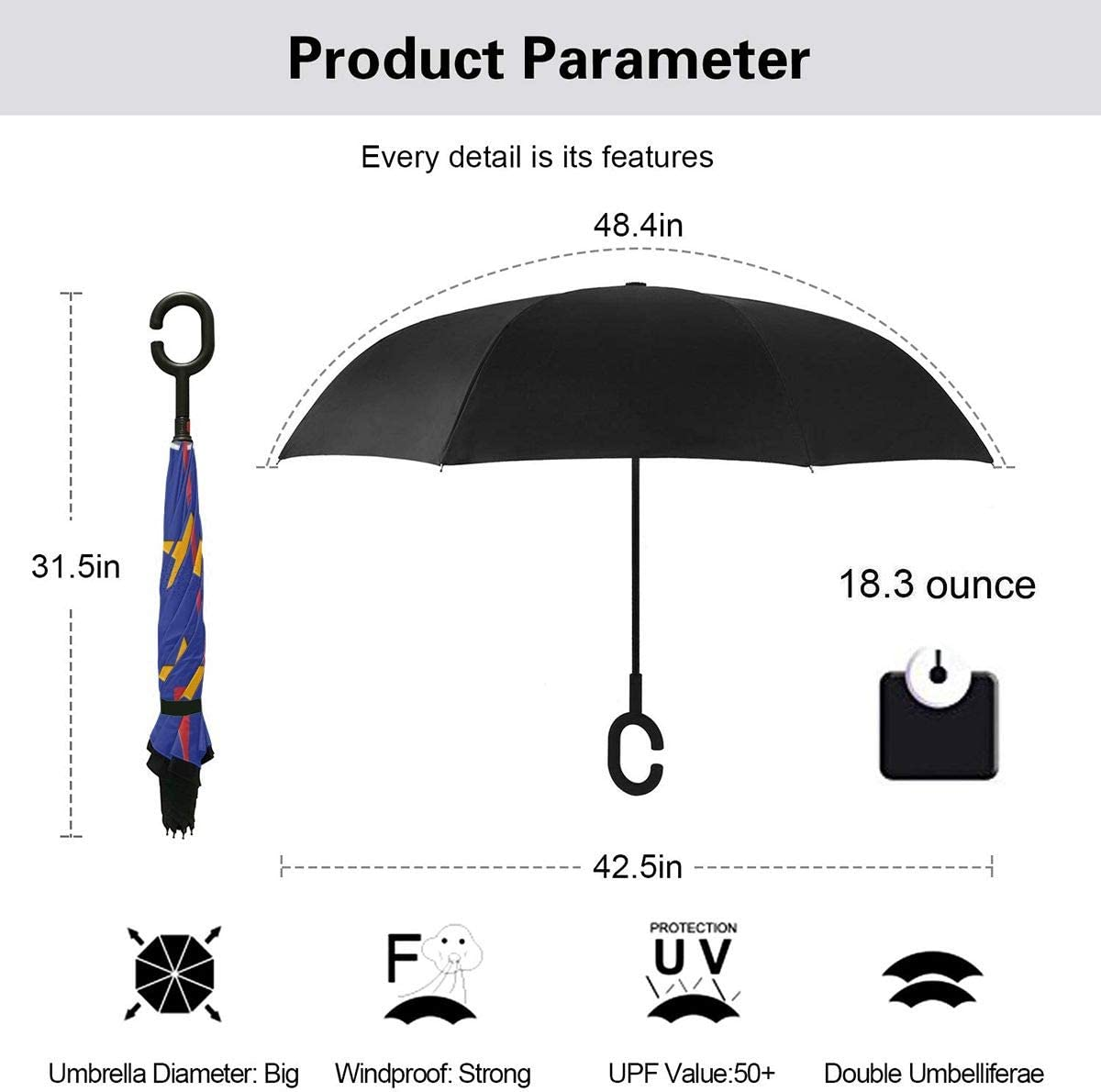PYFXSALA Star Bell Windproof Inverted Umbrella Double Layer UV Protection Folding Reverse Umbrella for Car Rain Outdoor Self Stand Upside Down with C-Shaped Handle