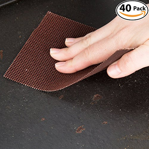 Griddle Kings Pro-Grade Grill Screens 40 Pack. Scrub Away Burnt-On Grease & Carbon. Abrasive Mesh Resists Clogging & Wont Damage Cast Iron Cooktops, Restaurant Grills & Stainless Steel Flat - Pads Scrub Cooktop