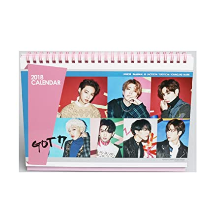 got7 2018 desk calendar with transparent photo cards and stickers