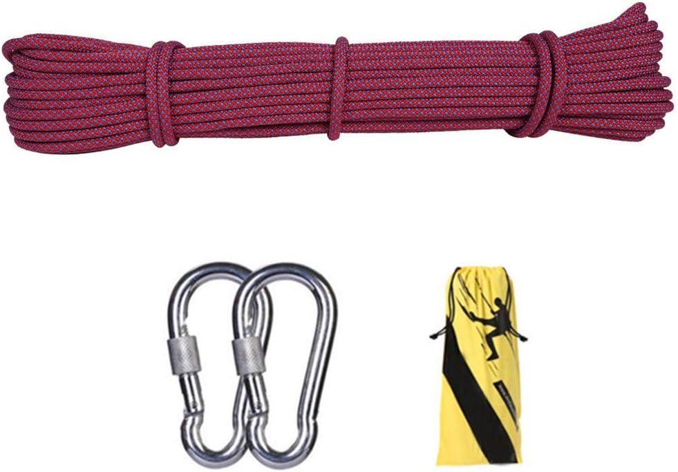10.5ミリメートル屋外クライミング安全ロープ、ハイキングのための2 *カラビナ多機能ナイロン洗濯物が付いている家の緊急の脱出ロープ、キャンプ工学救助用具、赤,50m