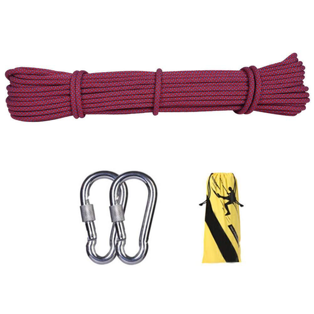 10.5ミリメートル屋外クライミング安全ロープ、ハイキングのための2 *カラビナ多機能ナイロン洗濯物が付いている家の緊急の脱出ロープ、キャンプ工学救助用具、赤,50m 50m  B07T6SCG75