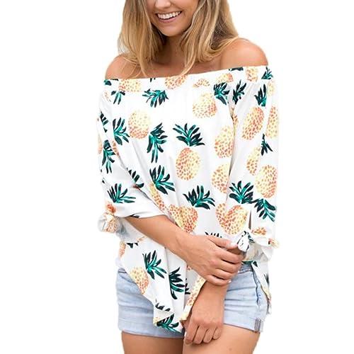 Tefamore Mujeres 2017 Casual & Moda Hot Color Camisa de Impresión Pineapple Hombro de la Palabra de ...