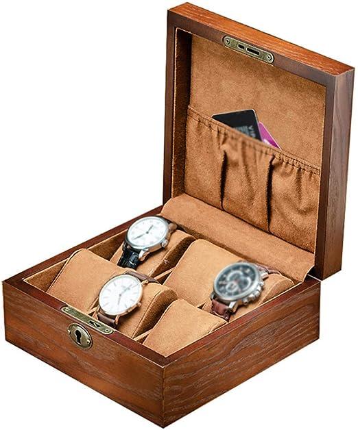 Estuche de almohada para organizador de caja de reloj - Estuches para exhibición de joyería con 6 ranuras con tapa de vidrio enmarcado Bloqueo resistente y seguro para hombres y mujeres: Amazon.es: