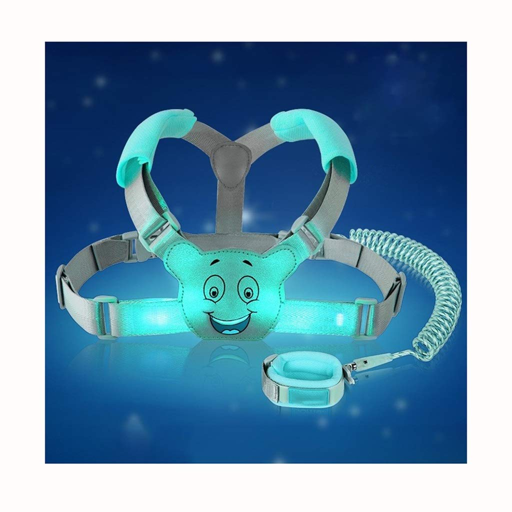VIVIANE Anti-Lost Belt Baby Backpack Anti-Lost Rope Child Safety Rope 遛 Baby Luminous Anti-Lost with Traction Rope Shoulder Strap (Color : Ice Blue, Size : 1.5 Meters)