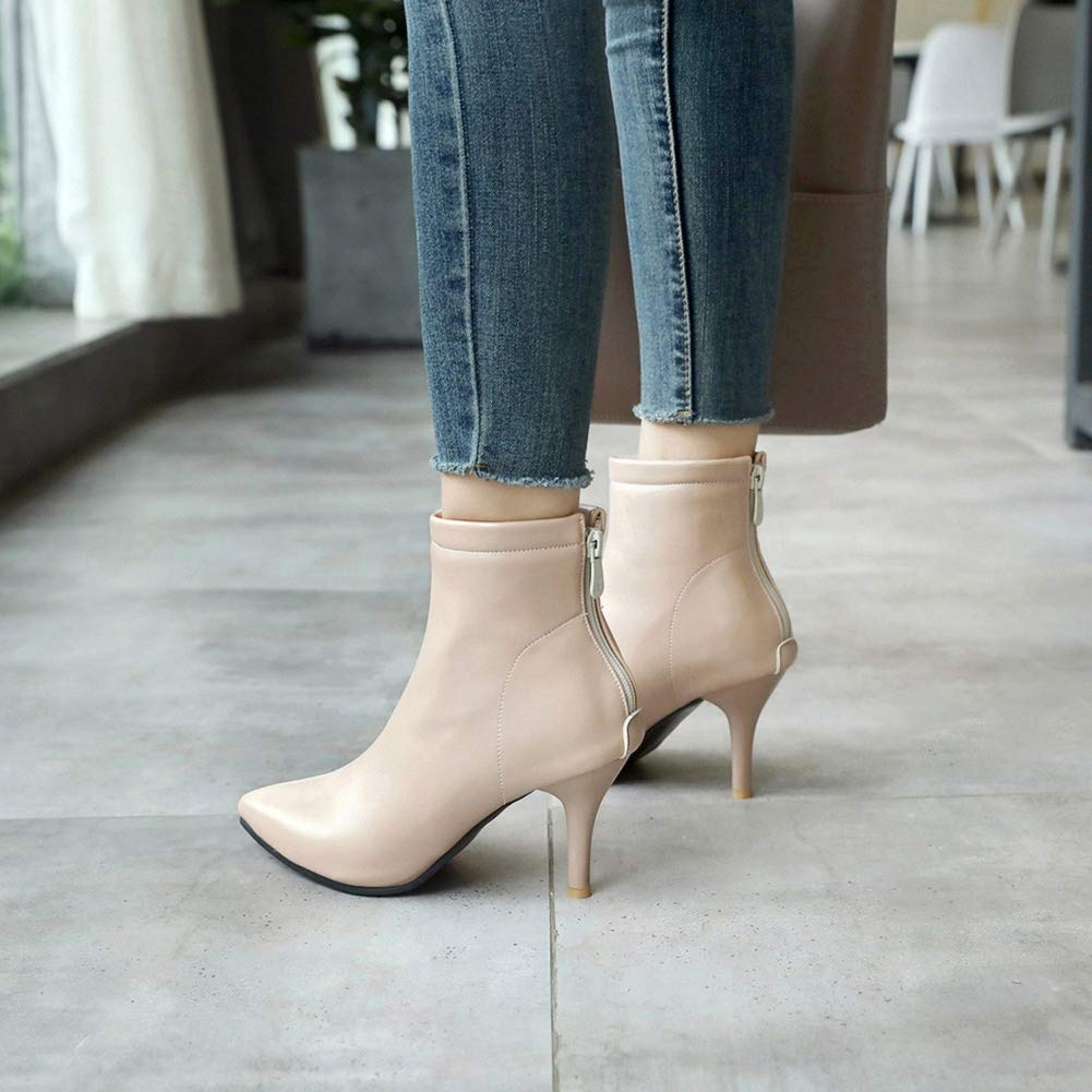 Women's Closed Pointed Toe Low Kitten Heel Ankle Bootie Prom Party Dress Bootie Beige by Lowprofile by Lowprofile Boots (Image #4)