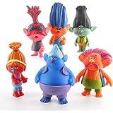 Movie DreamWorks Trolls Action Figures Toys Set of 6,Mini Princess Dolls Poppy Playsets 4 inch Tall