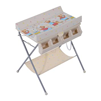 HOMCOM Baby Changing Table Baby Storage Bath Tub Unit Station Dresser  Foldable Cross Leg Style (