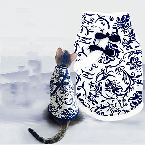 Rainflower Blue and White Porcelain Warm Puppy Dog Costumes Cat Pet Winter Coat (70s Cop Costume)