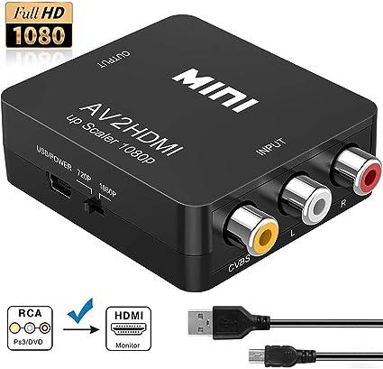 RCA a HDMI, Neefeaer 1080P Mini RCA Composite CVBS AV a HDMI Video ...
