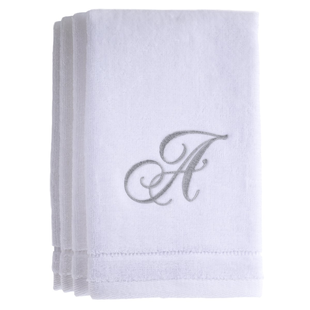 Monogrammed Towels Fingertip, Personalized Gift, 11 x 18 Inches - Set of 4- Silver Embroidered Towel - Extra Absorbent 100% Cotton- Soft Velour Finish - For Bathroom/ Kitchen/ Spa- Initial A (White) Creative Scents 8332-A