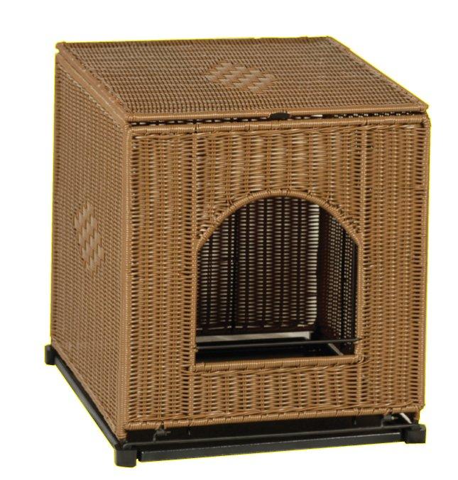 Discreet Litter Box Furniture: PetSafe Solvit Mr. Herzher's Cat Litter Pan Cover, Covered Wicker Cat Litter Box Enclosure