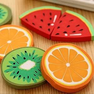 1pcs/pack lindo diseño de frutas frescas gomas de borrar Kawaii sandía naranja Kiwifruit gomas de borrar regalo premio oficina escuela suministros, color Randomly talla única: Amazon.es: Oficina y papelería